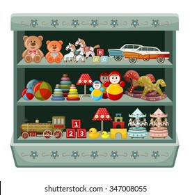 Vintage toys shop. Shelves. Vector illustration