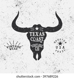 Vintage trademark with bull head.Texas Coast.Silhouette of  face.Typography western design for t-shirts.Vector illustration