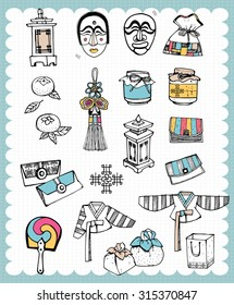 Vintage traditional crafts illustration with Korean  folk craft articles in hand drawn style  and on the grid background. Perfect design to celebrate the national holiday.