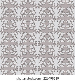 Vintage traditional layout fabric design, damask beautiful background, floral ornamentation, fashioned seamless pattern, vector wallpaper, wrapping paper