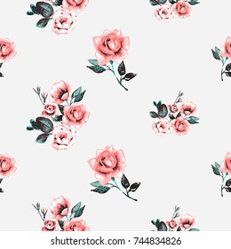 Vintage traditional roses brunch and beautiful bouquet vector seamless pattern in watercolor style. Beautiful floral Illustration on white background.
