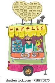 Vintage trailer modified as street fast food cafe. Waffles cafe. Cartoon.