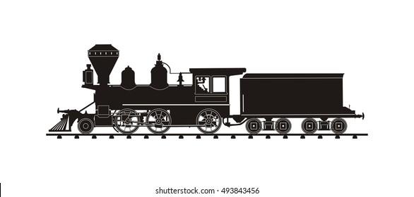 vintage train illustration vector silhouette