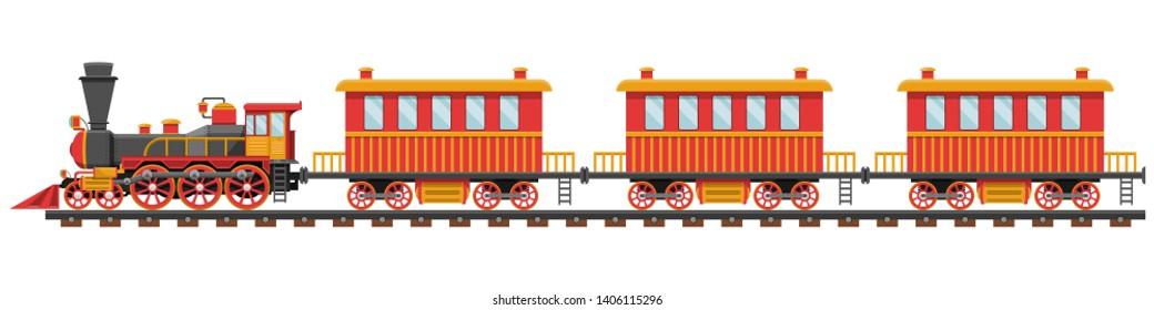 Vintage train on railroad vector design illustration isolated on white background