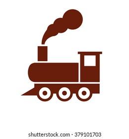 Vintage train sign. Vector icon brown