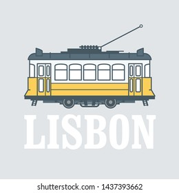 Vintage tram - symbol of Lisbon, Portugal, tramway in Lisbon, side view