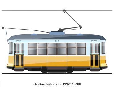 Vintage tram. Typical tram of Lisbon, Portugal. Vector.