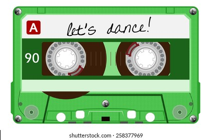 Vintage transparent audio cassette. Green color music cassette tape with text - let's dance, old technology, realistic retro design. vector art image illustration, isolated on white background, eps10