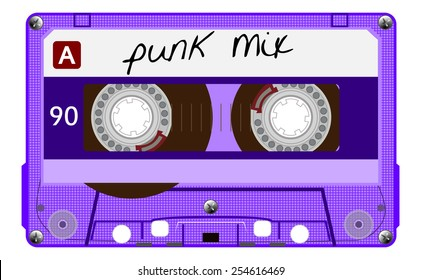 Vintage transparent audio cassette. Purple music compact cassette tape with text - punk mix, old technology, realistic retro design. vector art image illustration, isolated on white background, eps10