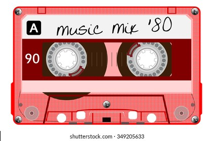 Vintage transparent plastic audio cassette. Red musical cassette tape with text - music mix 80, old technology, realistic retro design. vector art image illustration isolated on white background eps10