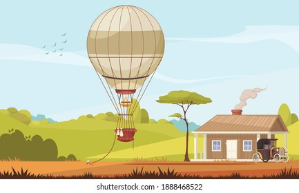 Vintage transport composition with outdoor scenery house with car and aerostat air balloon tied to ground vector illustration