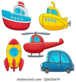 Vintage transport icon set. Cartoon transport collection: cargo, submarine, helicopter, rocket, car. Nautical, underwater, air, space, surface. Vector eps 10 illustration isolated on white background.