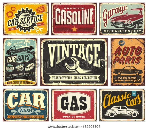 Vintage transportation signs collection for car service, auto parts, car wash, gas station, garage and classic vehicles. Vector posters illustration.