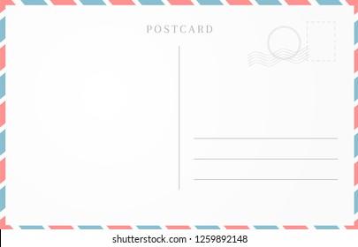 Vintage travel card design. Blank postcard template
