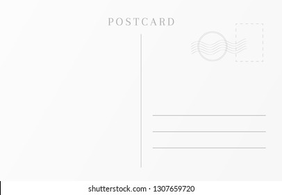 Vintage travel card template. Blank postcard design