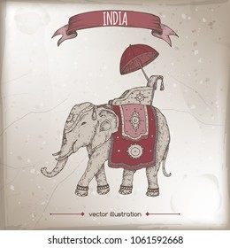 Vintage travel illustration with decorated Indian elephant. Hand drawn vector sketch. Great for travel ads, brochures, labels.