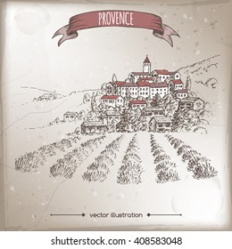 Vintage travel illustration with Provence town, lavender field, hill landscape. Hand drawn vector sketch. Great for farmer product and travel ads, brochures, labels.