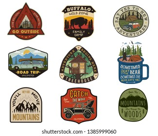 Vintage travel logos patches set. Hand drawn camping labels designs. Mountain expedition, road trip, surfing. Outdoor hike emblems. Hiking logotypes collection. Stock vector isolated on white