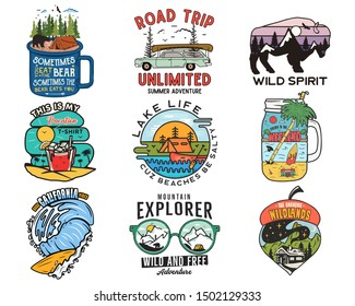 Vintage travel logos, vacation patches set. Hand drawn camping labels designs. Mountain expedition, road trip, surfing. Outdoor hiking emblems. Logotypes collection. Stock vector isolated on white.