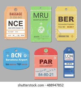 Vintage travel luggage tags vector. Retro baggage tag illustration.