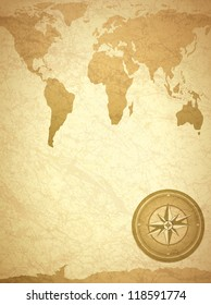 Vintage Travel Paper With Map and Compass