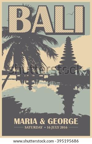Vintage Travel Poster Destination Bali Stock Vector Royalty Free