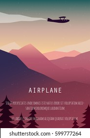 Vintage travel poster. Retro airplane poster. Vector Travel Poster.  Pop - art minimalistic style, for travel agencies, aviation companies. Biplane flying over the mountains.