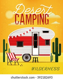 Vintage Travel Poster with Travel Trailer on Desert. Vector illustration.