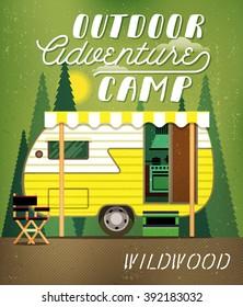 Vintage Travel Poster with Travel Trailer on Forest. Vector illustration.