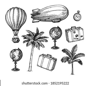 Vintage travel set. Ink sketch of retro objects isolated on white background. Hand drawn vector illustration.