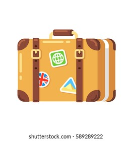 Vintage travel suitcase with stickers, isolated vector illustration. Old leather luggage bag in flat cartoon style.