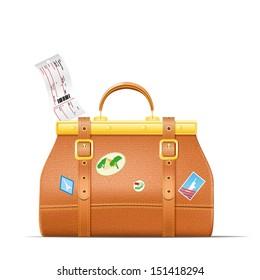 Vintage Travel Suitcase. Vector illustration.
