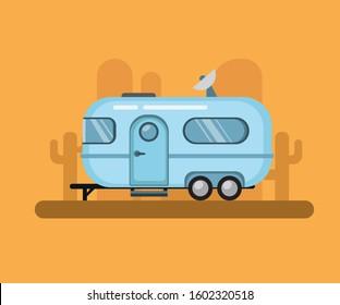 Vintage Travel Trailer, airstream camper in desert sunset. flat illustration vector