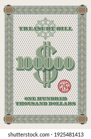 Vintage treasury bill one hundred thousand dollars with red Chicago stamp and tracery frame