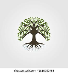 vintage tree logo vector illustration design