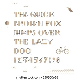 Vintage trendy geometric font. High quality vector design element.