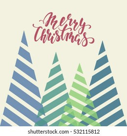 Vintage triangular stylized Christmas trees. Hand drawn calligraphy Merry Christmas lettering. design holiday greeting cards and invitations of Merry Christmas and Happy New Year and seasonal holidays