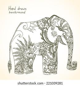 Vintage tribal elephant