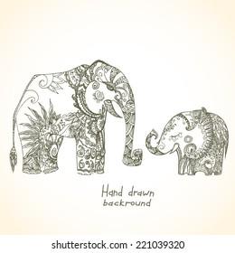 Vintage tribal elephant family
