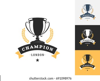 Vintage trophy logo design template. Vector logotype elements, Icons, Symbols, Retro Labels, Badges and Silhouettes. Vector illustration