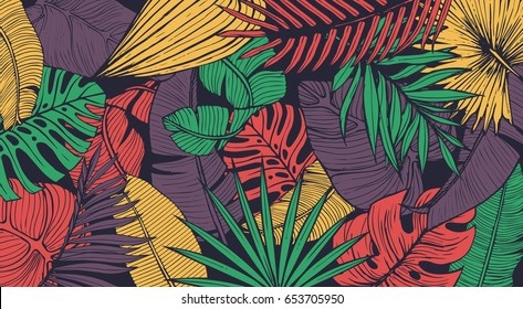 Vintage tropic pattern design. Cool floral wallpaper. Eps10 vector.