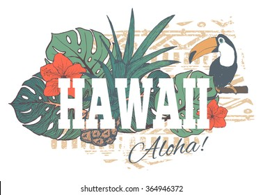 Vintage tropical exotic Hawaii print for t-shirt with slogan.