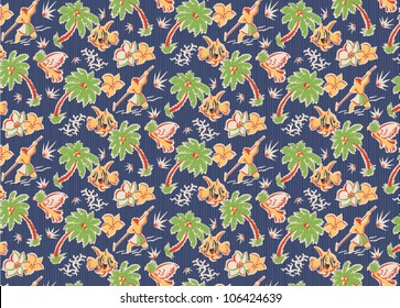 vintage tropical fabric pattern with parrots, fish, flowers, spear fishermen, palm trees