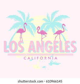 Vintage Tropical Graphic. Summer Graphic. Palm trees. Lettering ' Los Angeles - California ' Vector Illustration. Apparel Print