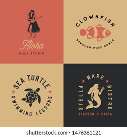 Vintage Tropical Illustrations - Set of 4 tropical hand drawn illustrations in a timeless style. Each icon has a rough, vintage texture. Use them for logos, t-shirt designs, posters and more!