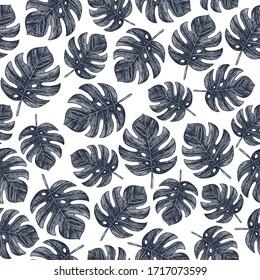 Vintage tropical monstera leaves seamless pattern. Jungle background. Vector illustration