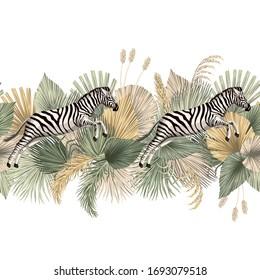 Vintage tropical palm leaves, zebra animal floral seamless border white background. Exotic safari wallpaper.