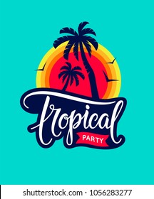 Vintage tropical party emblem with text, palm tree silhouettes, sunset and flying birds - badge, patch and icon. Tropical party concept of invitation, poster, flyer and banner. Vector illustration.
