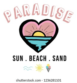 Vintage Tropical Sunset Graphic. Summer Graphic. Lettering ' Paradise ' Vector Illustration. Apparel Print Design. Sea, sun, heart, ice cream illustration print design.