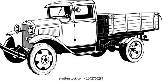 vintage truck with 1920s body, monogram, black graphics